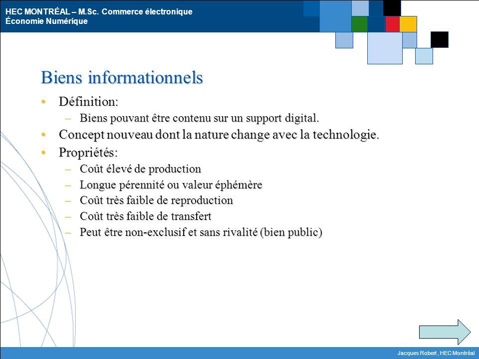 HEC MONTRÉAL – M.Sc. Commerce électronique Économie Numérique Jacques Robert, HEC Montréal Biens informationnels Définition:Définition: –Biens pouvant