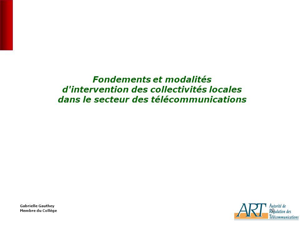 0 0 Fondements et modalités d intervention des collectivités locales dans le secteur des télécommunications Gabrielle Gauthey Membre du Collège