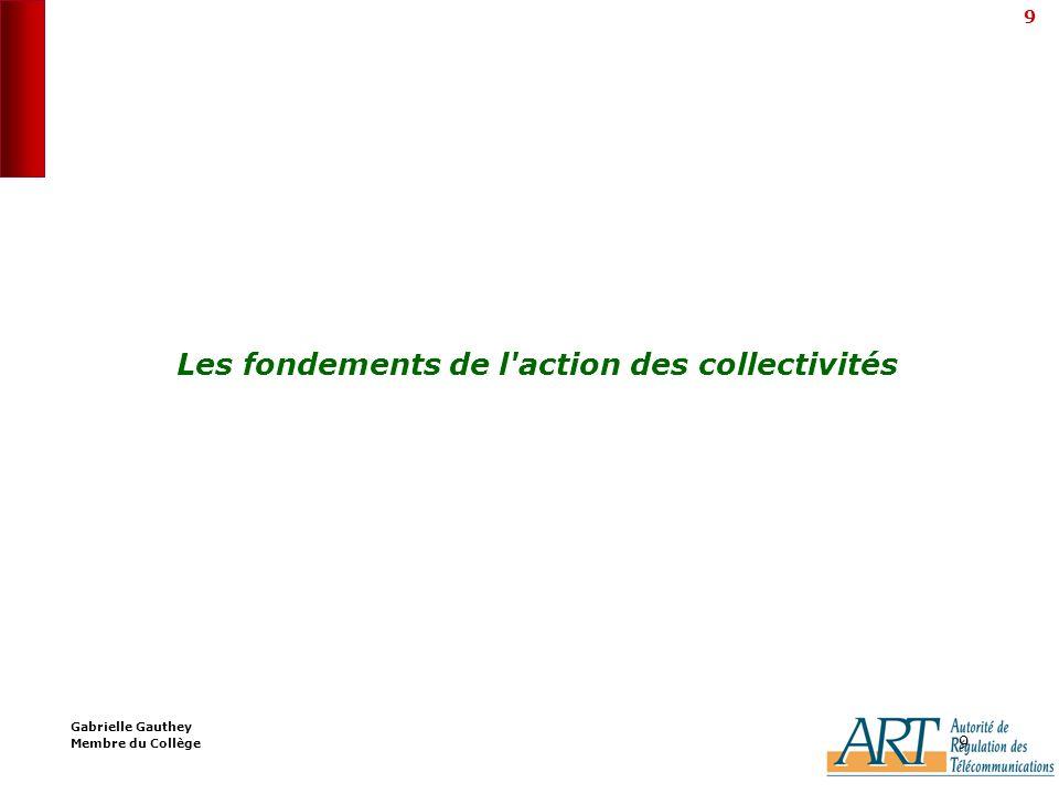 9 9 Les fondements de l action des collectivités Gabrielle Gauthey Membre du Collège