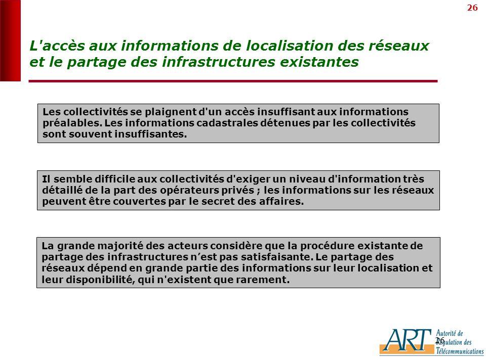 26 L accès aux informations de localisation des réseaux et le partage des infrastructures existantes La grande majorité des acteurs considère que la procédure existante de partage des infrastructures nest pas satisfaisante.