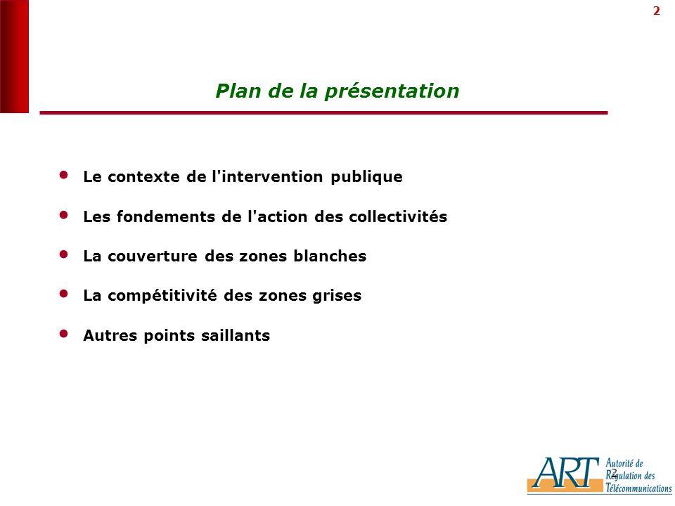2 2 Plan de la présentation Le contexte de l intervention publique Les fondements de l action des collectivités La couverture des zones blanches La compétitivité des zones grises Autres points saillants