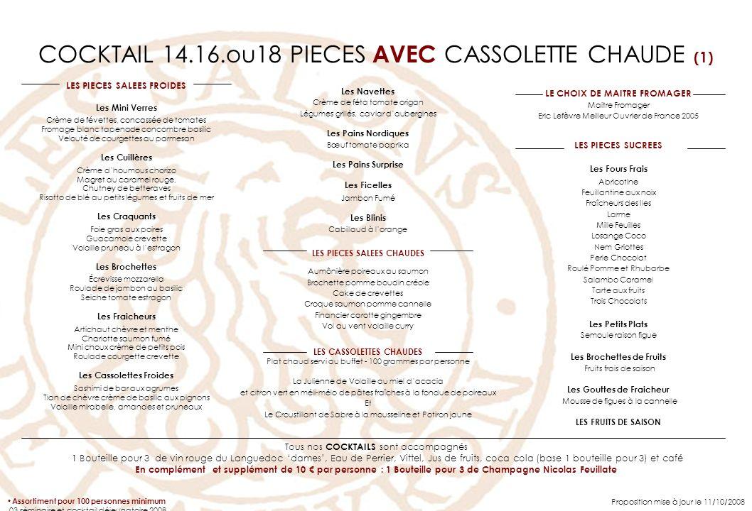 COCKTAIL 14.16.ou18 PIECES AVEC CASSOLETTE CHAUDE (1) LES PIECES SALEES FROIDES Les Mini Verres Crème de févettes, concassée de tomates Fromage blanc