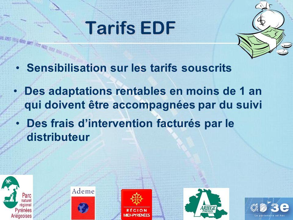 Tarifs EDF Des adaptations rentables en moins de 1 an qui doivent être accompagnées par du suivi Des frais dintervention facturés par le distributeur Sensibilisation sur les tarifs souscrits