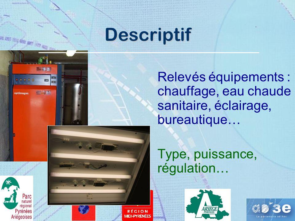 Descriptif Relevés équipements : chauffage, eau chaude sanitaire, éclairage, bureautique… Type, puissance, régulation…