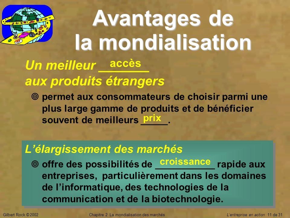 Gilbert Rock © 2002Chapitre 2 La mondialisation des marchés Lentreprise en action 11 de 31 Avantages de la mondialisation Un meilleur _______ aux prod