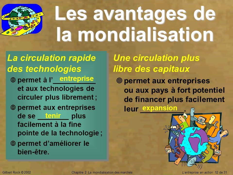 Gilbert Rock © 2002Chapitre 2 La mondialisation des marchés Lentreprise en action 12 de 31 Les avantages de la mondialisation La circulation rapide de