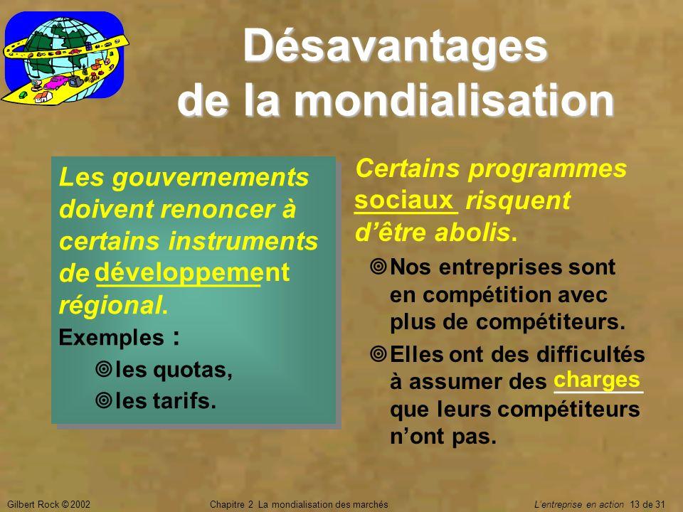 Gilbert Rock © 2002Chapitre 2 La mondialisation des marchés Lentreprise en action 13 de 31 Désavantages de la mondialisation Les gouvernements doivent