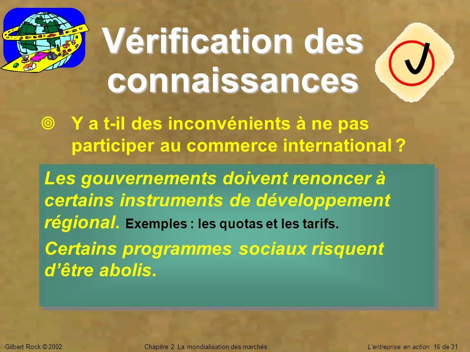 Gilbert Rock © 2002Chapitre 2 La mondialisation des marchés Lentreprise en action 16 de 31 Vérification des connaissances Y a t-il des inconvénients à