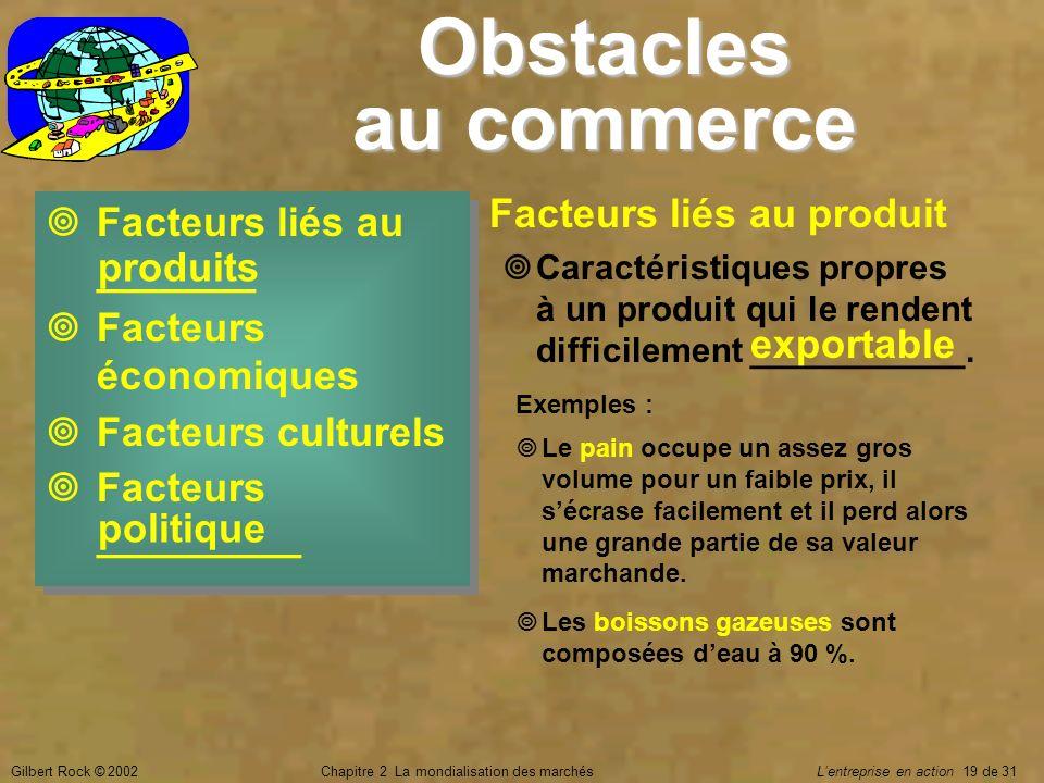 Gilbert Rock © 2002Chapitre 2 La mondialisation des marchés Lentreprise en action 19 de 31 Obstacles au commerce Facteurs liés au _______ Facteurs éco