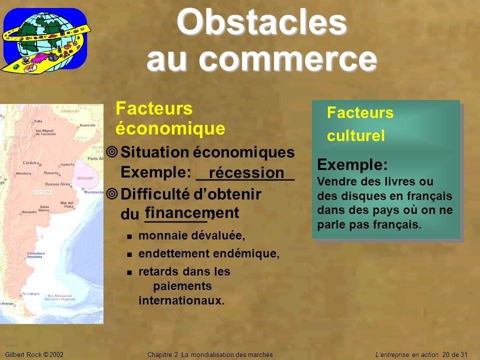 Gilbert Rock © 2002Chapitre 2 La mondialisation des marchés Lentreprise en action 20 de 31 Obstacles au commerce Facteurs culturel Facteurs culturel F