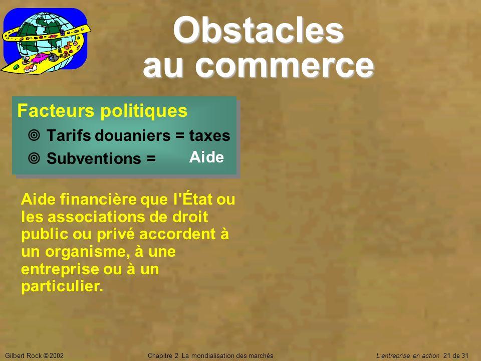 Gilbert Rock © 2002Chapitre 2 La mondialisation des marchés Lentreprise en action 21 de 31 Aide financière que l'État ou les associations de droit pub