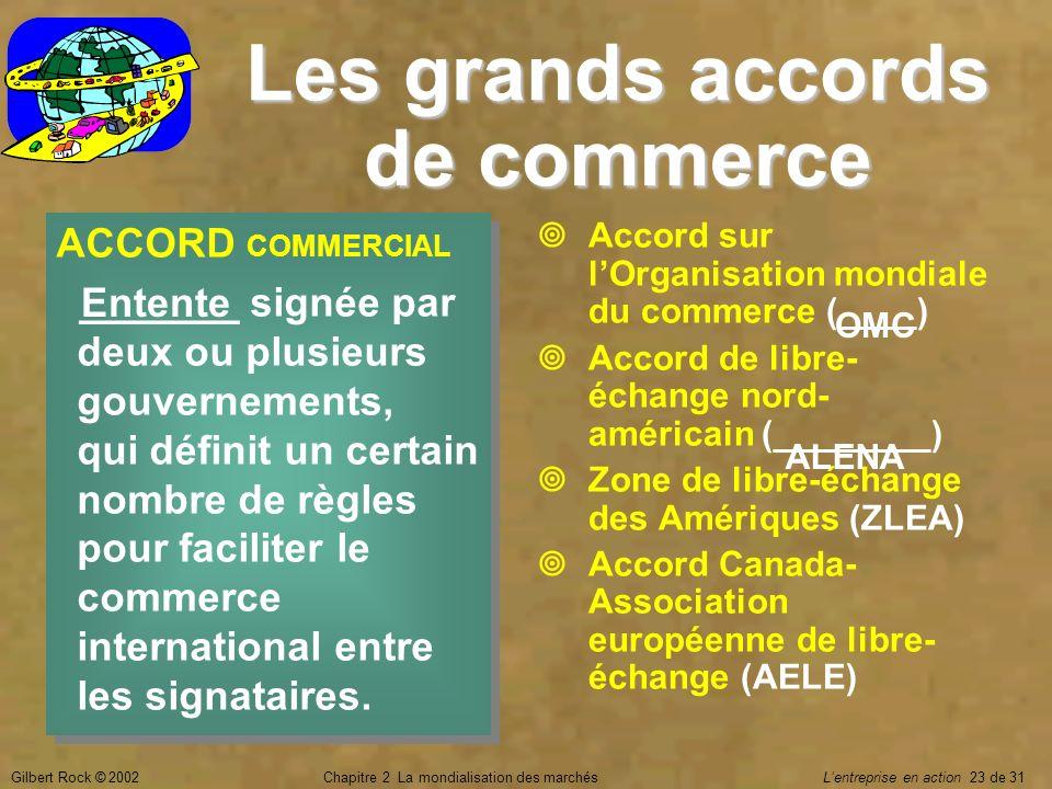 Gilbert Rock © 2002Chapitre 2 La mondialisation des marchés Lentreprise en action 23 de 31 Les grands accords de commerce ACCORD COMMERCIAL _______ si