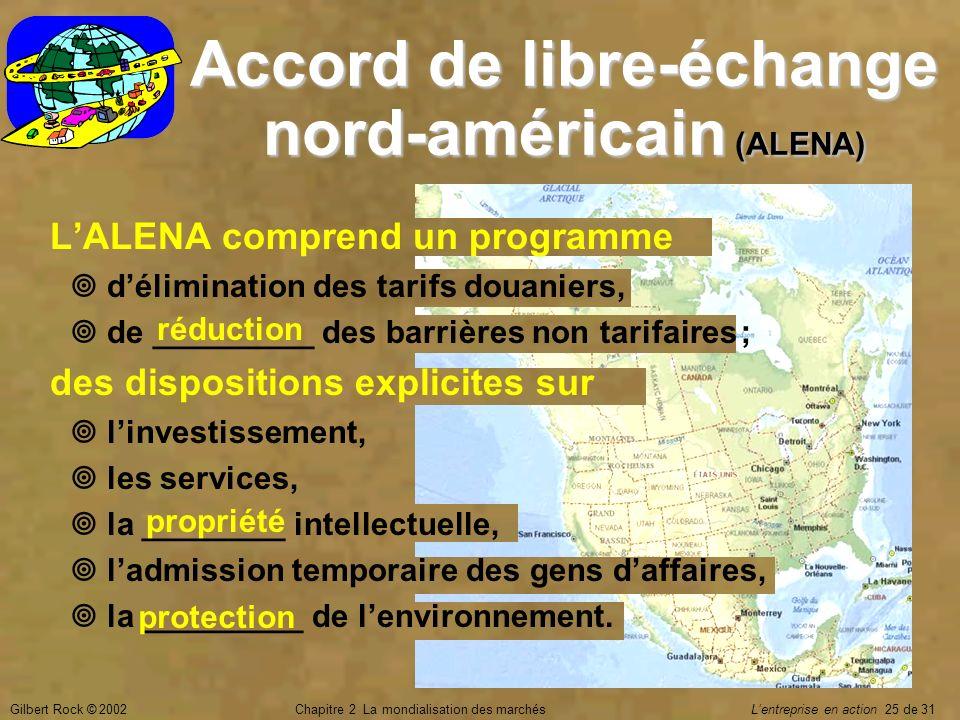Gilbert Rock © 2002Chapitre 2 La mondialisation des marchés Lentreprise en action 25 de 31 Accord de libre-échange nord-américain (ALENA) LALENA compr