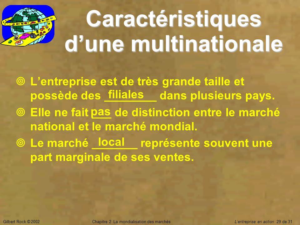 Gilbert Rock © 2002Chapitre 2 La mondialisation des marchés Lentreprise en action 29 de 31 Caractéristiques dune multinationale Lentreprise est de trè