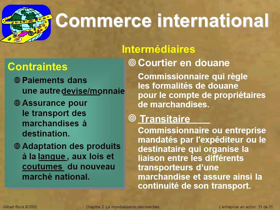 Gilbert Rock © 2002Chapitre 2 La mondialisation des marchés Lentreprise en action 31 de 31 Commerce international Contraintes Paiements dans une autre