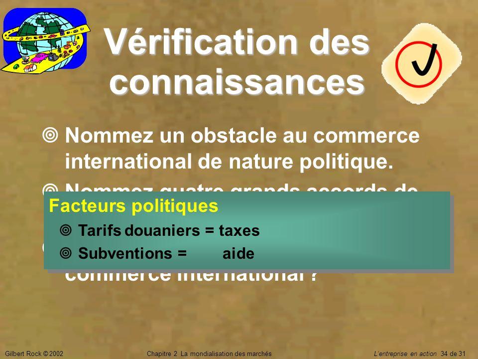 Gilbert Rock © 2002Chapitre 2 La mondialisation des marchés Lentreprise en action 34 de 31 Vérification des connaissances Nommez un obstacle au commer