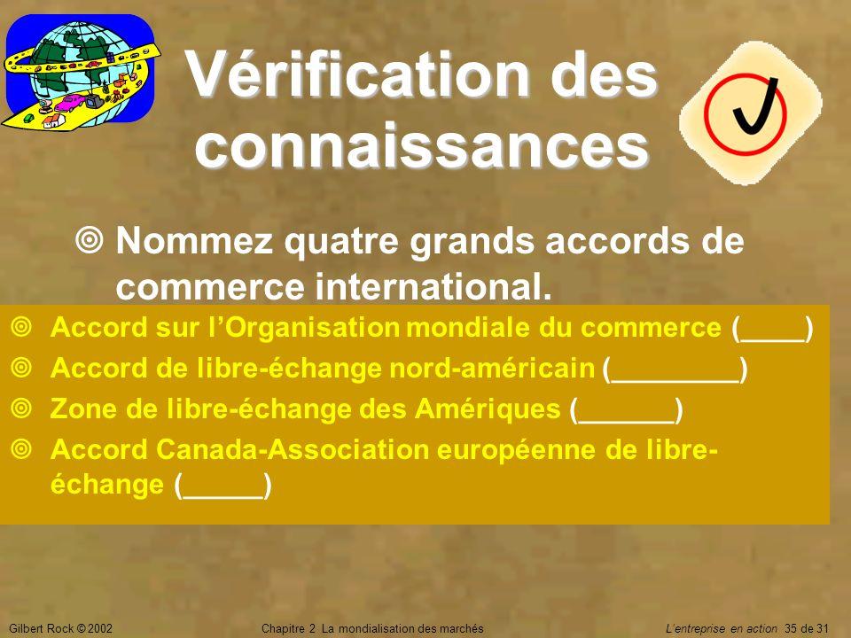 Gilbert Rock © 2002Chapitre 2 La mondialisation des marchés Lentreprise en action 35 de 31 Vérification des connaissances Nommez quatre grands accords