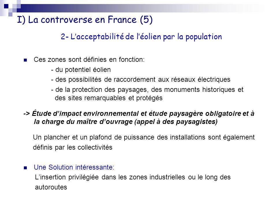 I) La controverse en France (5) Ces zones sont définies en fonction: - du potentiel éolien - des possibilités de raccordement aux réseaux électriques