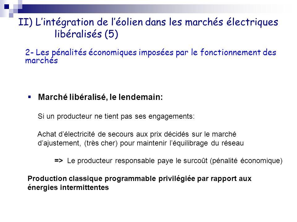 II) Lintégration de léolien dans les marchés électriques libéralisés (5) Marché libéralisé, le lendemain: Si un producteur ne tient pas ses engagement