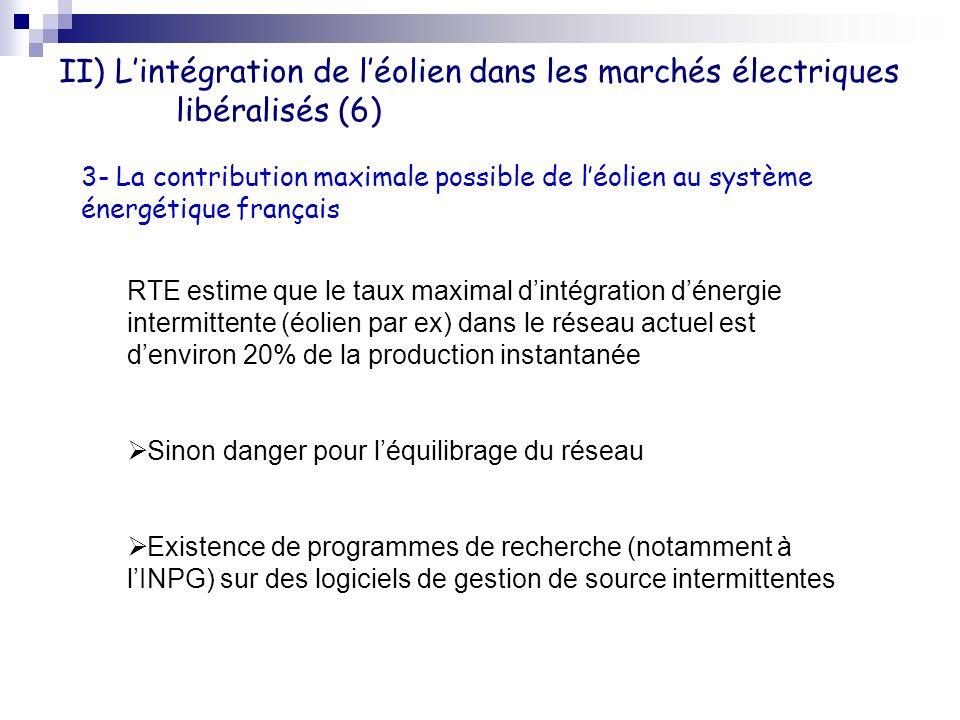 II) Lintégration de léolien dans les marchés électriques libéralisés (6) 3- La contribution maximale possible de léolien au système énergétique frança