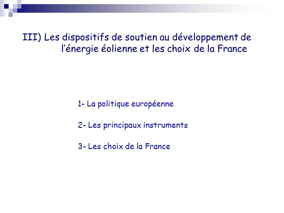 1- La politique européenne 2- Les principaux instruments 3- Les choix de la France III) Les dispositifs de soutien au développement de lénergie éolien