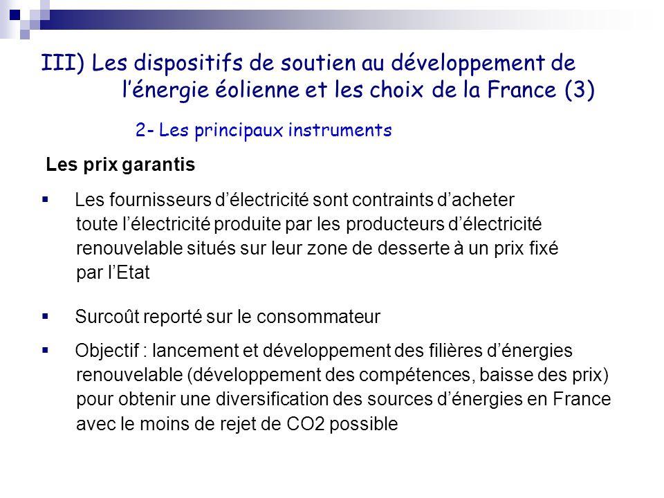 III) Les dispositifs de soutien au développement de lénergie éolienne et les choix de la France (3) Les prix garantis Les fournisseurs délectricité so