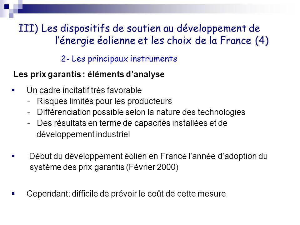 III) Les dispositifs de soutien au développement de lénergie éolienne et les choix de la France (4) Les prix garantis : éléments danalyse Un cadre inc