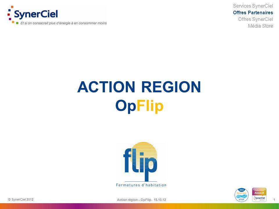 1 ACTION REGION OpFlip Action région – OpFlip- 18.10.12 © SynerCiel 2012 Services SynerCiel Offres Partenaires Offres SynerCiel Média Store