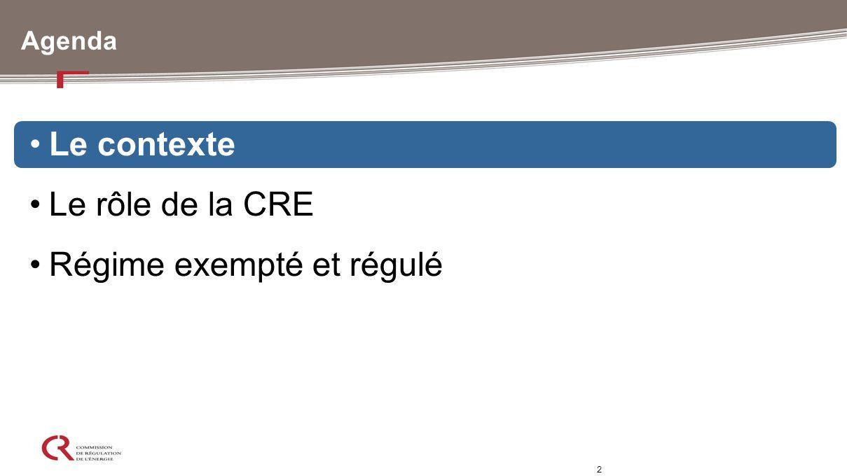 2 Agenda Le contexte Le rôle de la CRE Régime exempté et régulé