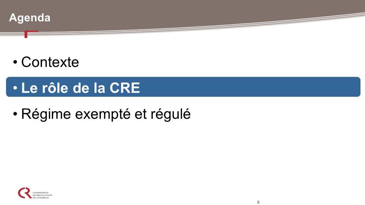 6 Agenda Contexte Le rôle de la CRE Régime exempté et régulé