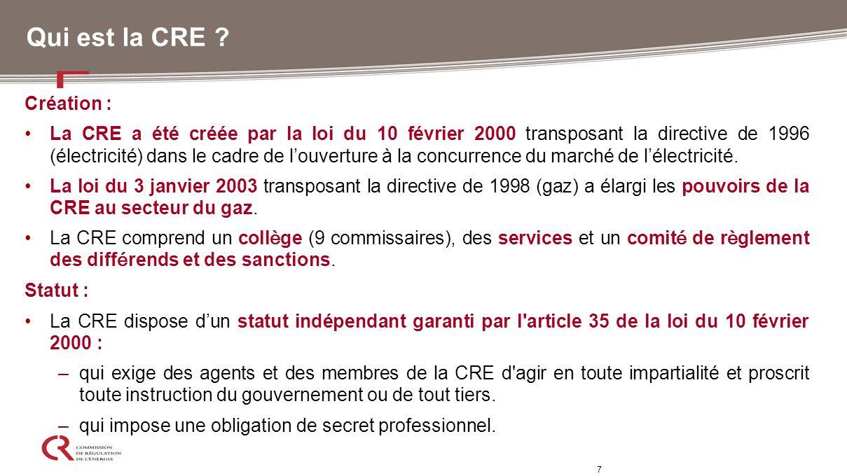 7 Qui est la CRE ? Création : La CRE a été créée par la loi du 10 février 2000 transposant la directive de 1996 (électricité) dans le cadre de louvert
