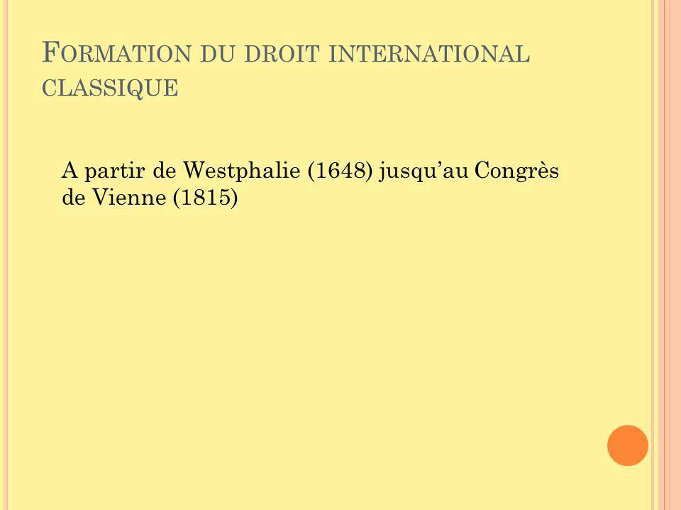 F ORMATION DU DROIT INTERNATIONAL CLASSIQUE A partir de Westphalie (1648) jusquau Congrès de Vienne (1815)