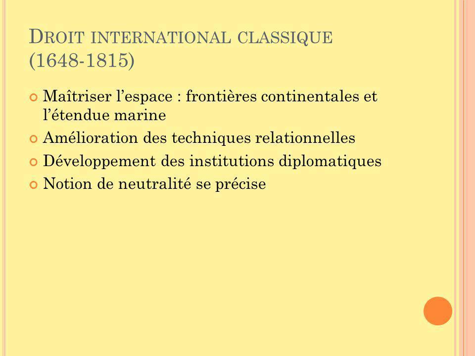 D ROIT INTERNATIONAL CLASSIQUE (1648-1815) Maîtriser lespace : frontières continentales et létendue marine Amélioration des techniques relationnelles Développement des institutions diplomatiques Notion de neutralité se précise