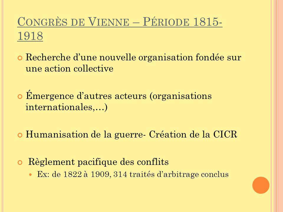 C ONGRÈS DE V IENNE – P ÉRIODE 1815- 1918 Recherche dune nouvelle organisation fondée sur une action collective Émergence dautres acteurs (organisatio
