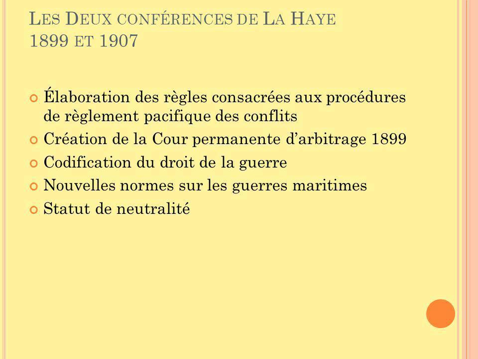 L ES D EUX CONFÉRENCES DE L A H AYE 1899 ET 1907 Élaboration des règles consacrées aux procédures de règlement pacifique des conflits Création de la C