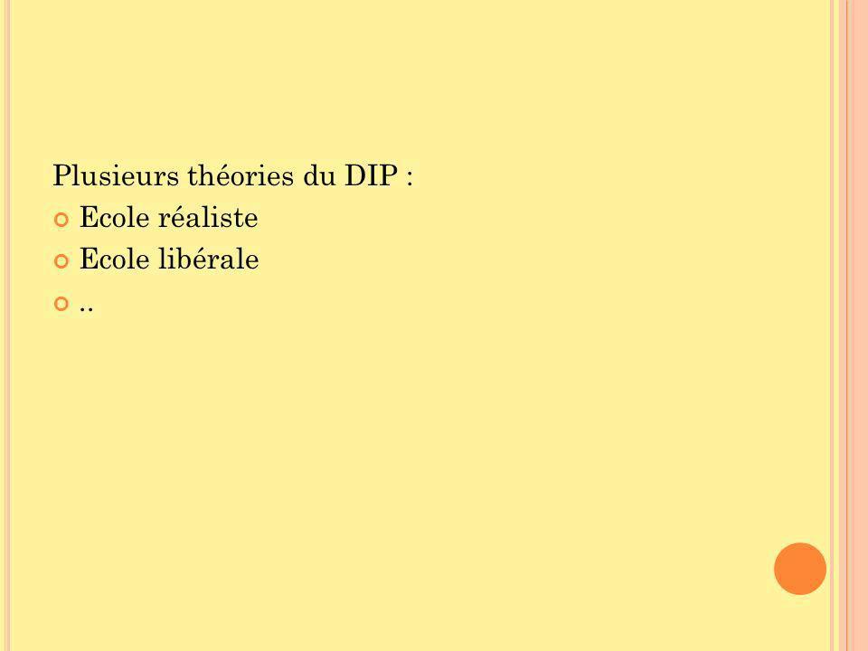 Plusieurs théories du DIP : Ecole réaliste Ecole libérale..