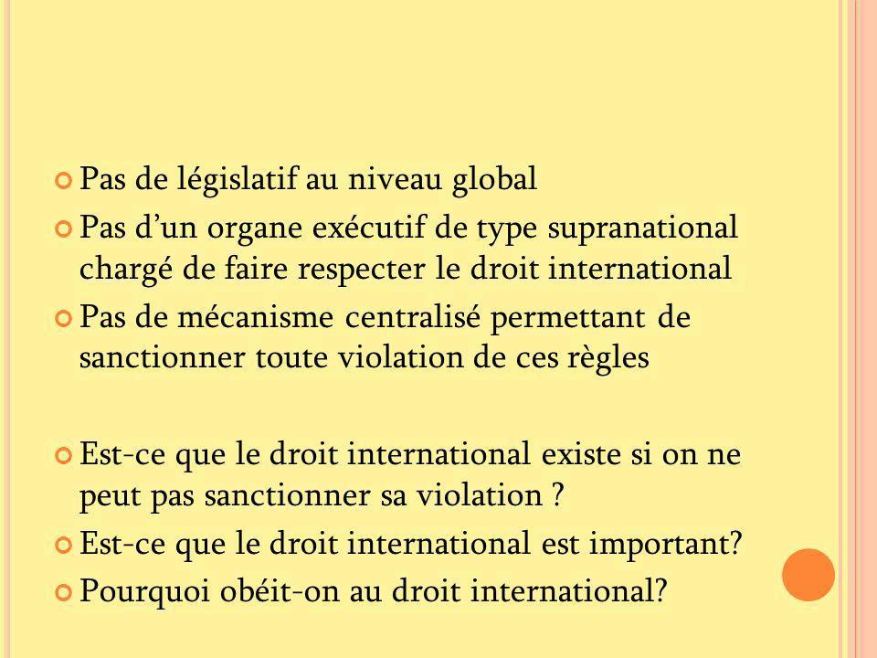 Pas de législatif au niveau global Pas dun organe exécutif de type supranational chargé de faire respecter le droit international Pas de mécanisme cen