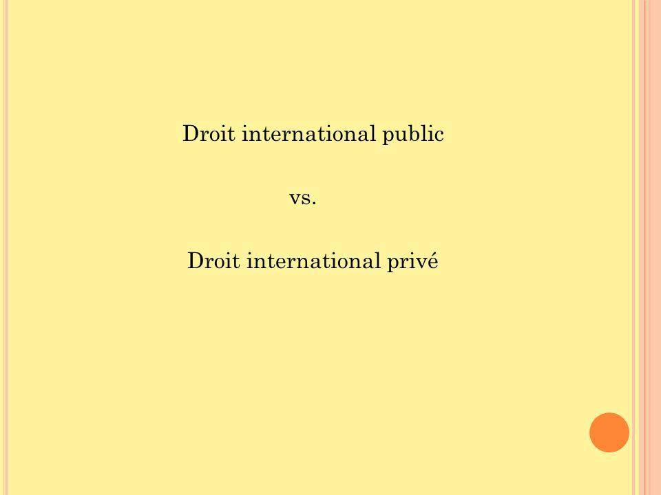 Droit international public vs. Droit international privé