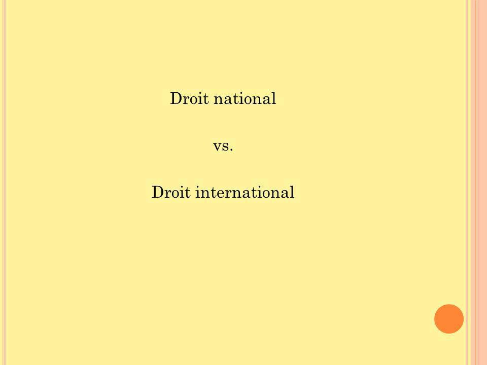 Droit national vs. Droit international