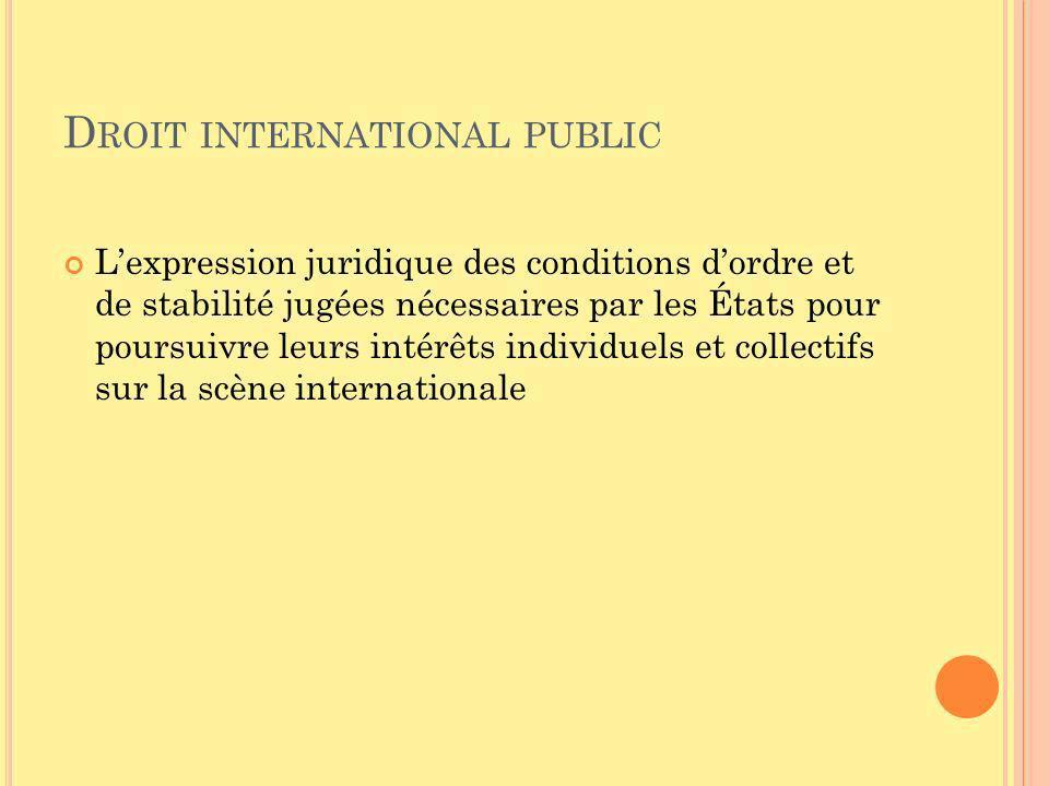 D ROIT INTERNATIONAL PUBLIC Lexpression juridique des conditions dordre et de stabilité jugées nécessaires par les États pour poursuivre leurs intérêt