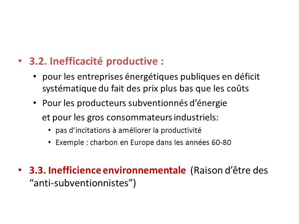 3.2. Inefficacité productive : pour les entreprises énergétiques publiques en déficit systématique du fait des prix plus bas que les coûts Pour les pr