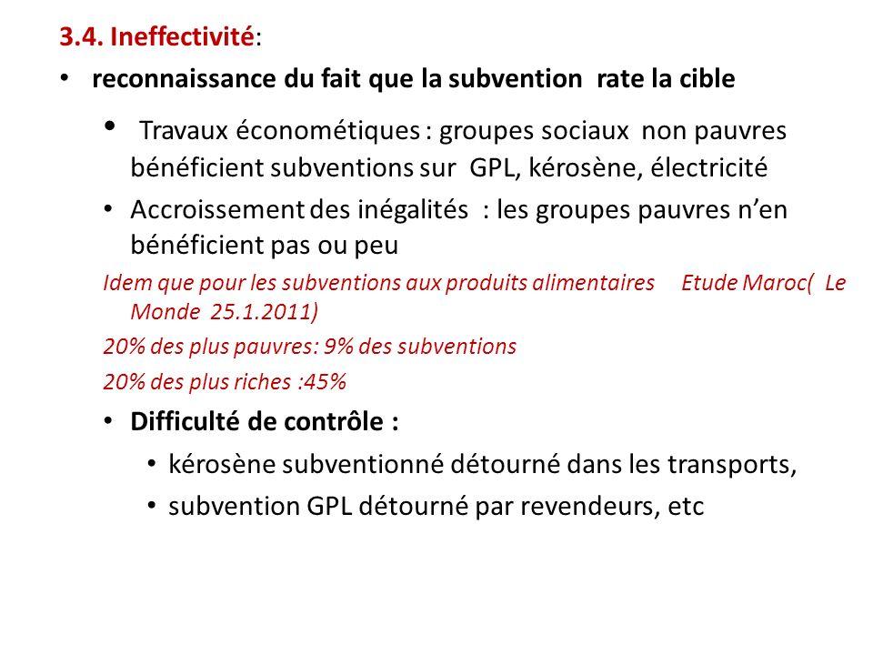 3.4. Ineffectivité: reconnaissance du fait que la subvention rate la cible Travaux économétiques : groupes sociaux non pauvres bénéficient subventions