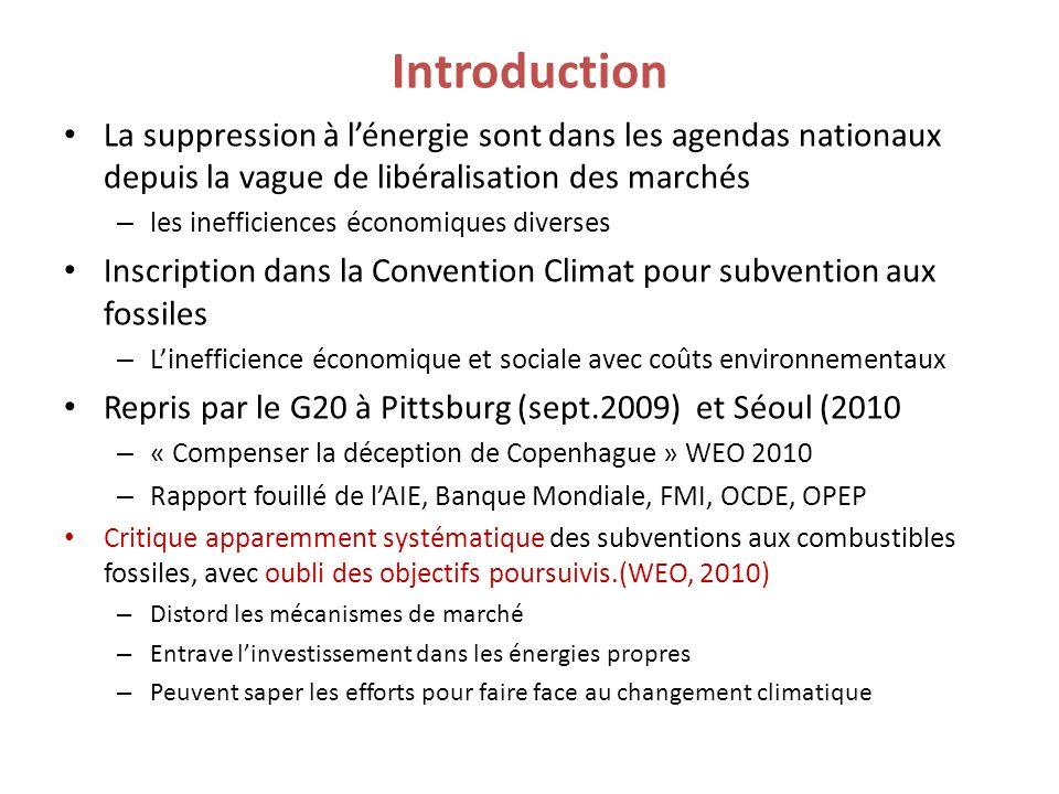 Constats sur les énergies non carbonées en 2007 Evaluation de 60 milliards $ : soit 15% du total Subvention ENR : 25 milliards $ en 2007 (dont 3 en R&D) Biocarburants: 15 milliards Subvention nucléaire: 16 milliards $ (5 milliards en R&D) (challengé à 56-76 milliards par GSI, 2010) 2007 Pétrole et produits pétroliers Gaz naturel CharbonElec.