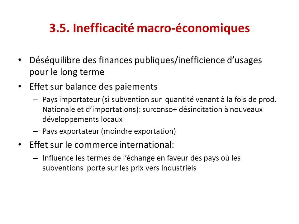 3.5. Inefficacité macro-économiques Déséquilibre des finances publiques/inefficience dusages pour le long terme Effet sur balance des paiements – Pays