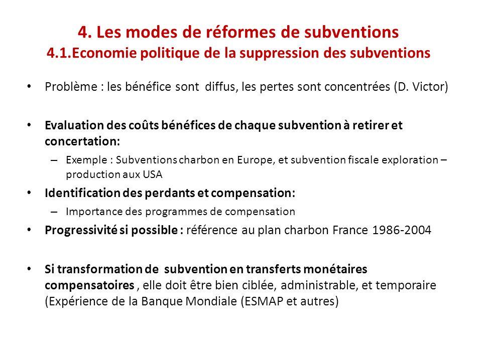 4. Les modes de réformes de subventions 4.1.Economie politique de la suppression des subventions Problème : les bénéfice sont diffus, les pertes sont