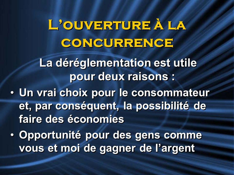 Louverture à la concurrence La déréglementation est utile pour deux raisons : Un vrai choix pour le consommateur et, par conséquent, la possibilité de