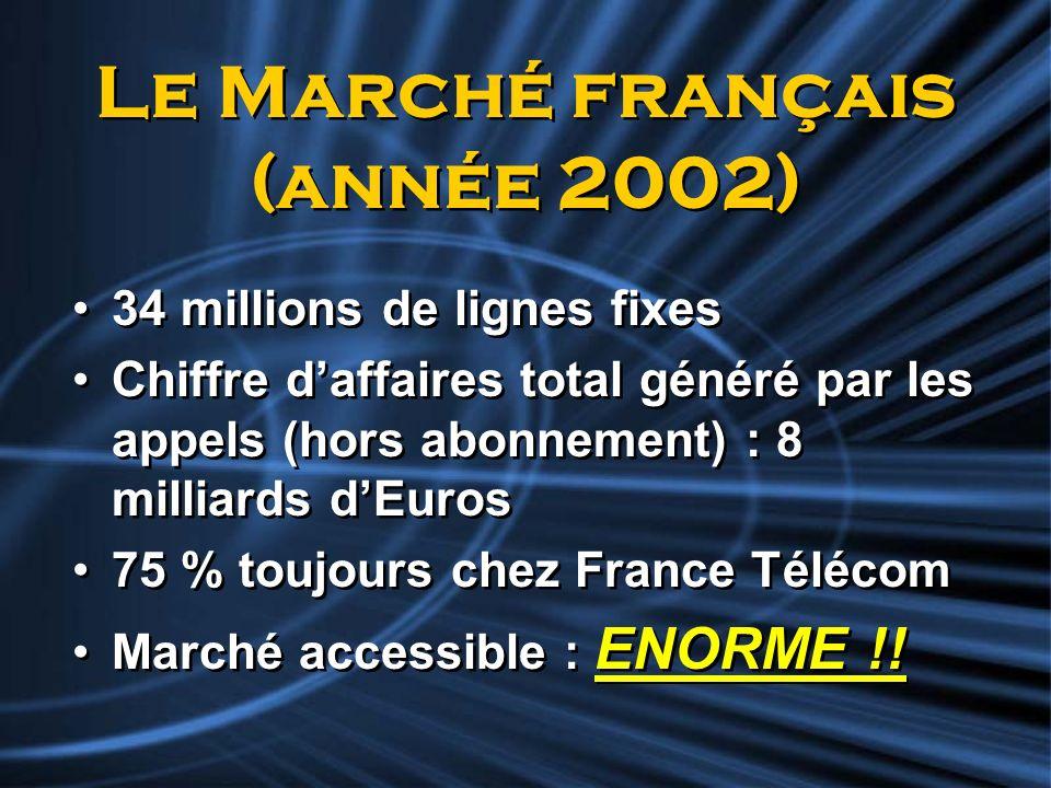 Le Marché français (année 2002) 34 millions de lignes fixes Chiffre daffaires total généré par les appels (hors abonnement) : 8 milliards dEuros 75 %