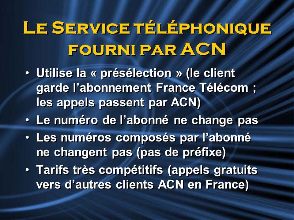 Le Service téléphonique fourni par ACN Utilise la « présélection » (le client garde labonnement France Télécom ; les appels passent par ACN) Le numéro