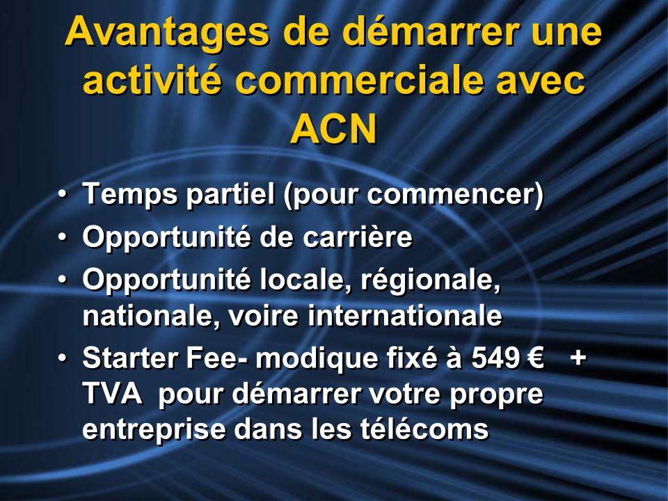 Avantages de démarrer une activité commerciale avec ACN Temps partiel (pour commencer) Opportunité de carrière Opportunité locale, régionale, national