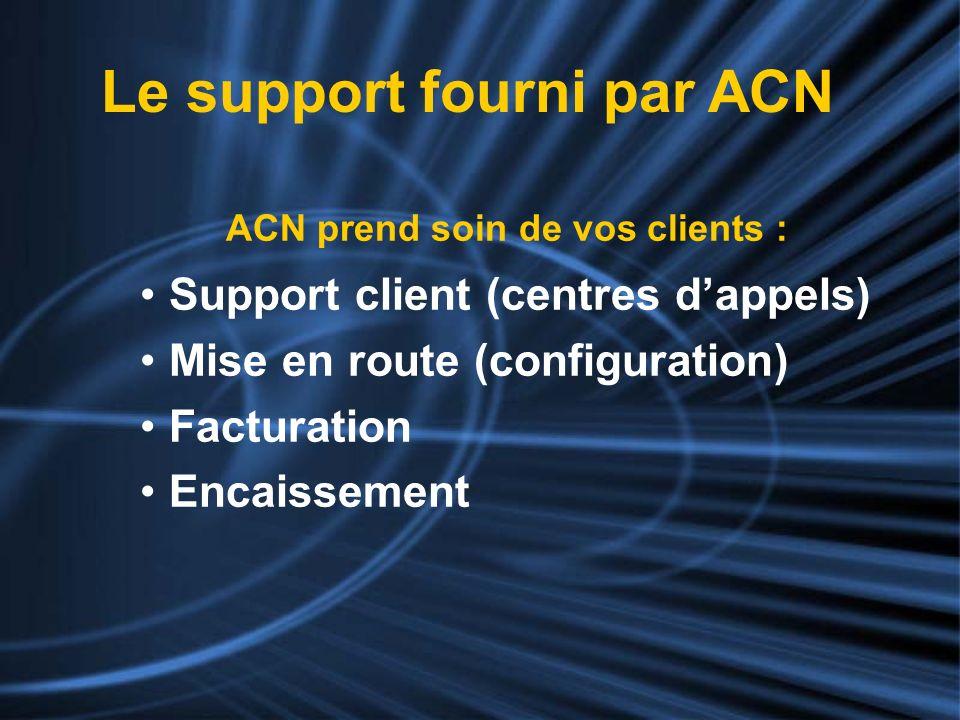 ACN prend soin de vos clients : Support client (centres dappels) Mise en route (configuration) Facturation Encaissement Le support fourni par ACN